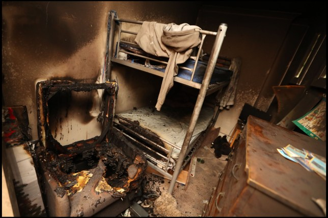 BNPS.co.uk (01202 558833)?Pic: BournemouthDailyEcho/BNPS The fire damaged bedroom at Donna Burton's flat in Boscombe (Dorset) after a USB phone charger cable from Poundland overheated. A mother and her three children have been forced to flee their home after a ?1 phone charger from a discount store overheated, causing a blaze. Firefighters were called to their flat in Bournemouth, Dorset, on Monday night when flames began became visible from the property. Residents of the block were evacuated as crews from three Bournemouth fire stations battled the blaze. No one was injured but the source of the fire is believed to be a cheap phone charger, which was plugged in at the time.