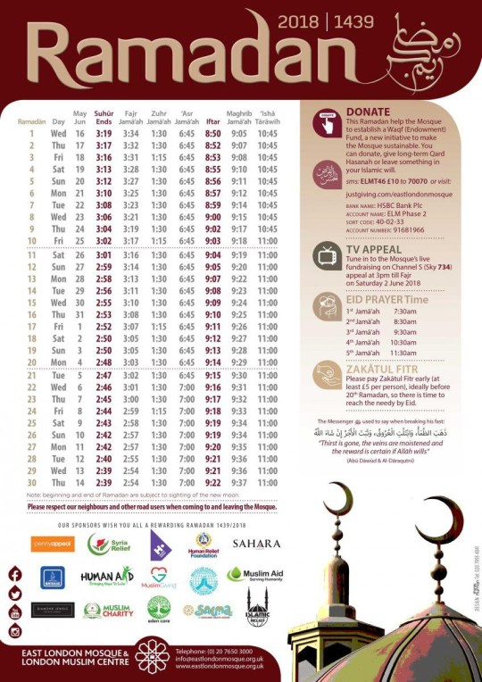 Ramadan 2018 timetable for the UK: Don't forget the prayer