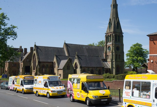 Ice Cream vans line up in tribute outside the Erdington?s Abbey Church, Birmingham for the funeral of Mac Leask, 82, 'the king of scoops', who was Birmingham?s longest serving ice-cream man. PRESS ASSOCIATION Photo. Picture date: Tuesday May 15, 2018. Photo credit should read: Aaron Chown/PA Wire
