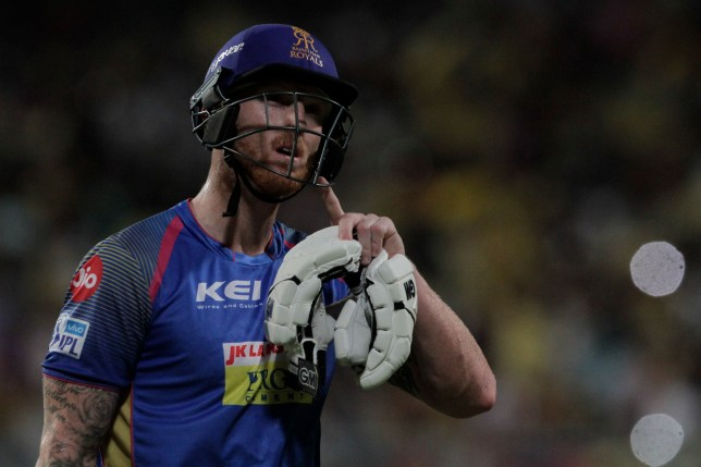 Rajasthan Royals' Ben Stokes gestures after being dismissed during the VIVO IPL cricket T20 match against Kolkata Knight Riders in Kolkata, India, Tuesday, May 15, 2018. (AP Photo/Bikas Das)