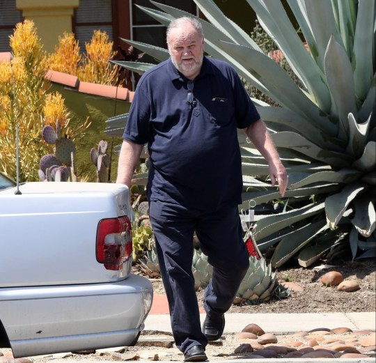 Meghan Markle's father Thomas Markle drops off flowers at Meghan's mother Doria Ragland home days before the wedding. 10 May 2018 Pictured: Thomas Markle. Photo credit: Rachpoot/MEGA TheMegaAgency.com +1 888 505 6342 (Mega Agency TagID: MEGA217895_008.jpg) [Photo via Mega Agency]
