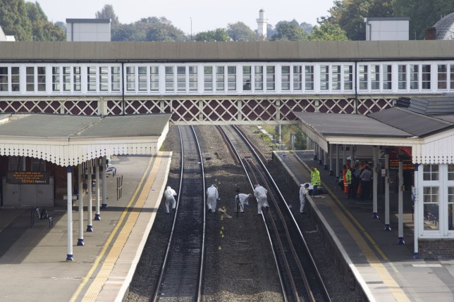 Mandatory Credit: Photo by Heathcliff O'Malley/REX/Shutterstock (4116286c) Slough Railway Station where a woman and child were killed on the tracks Woman and child killed after being hit by a train at Slough station, Britain - 23 Sep 2014