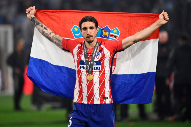 Atletico Madrid's Croatian defender Sime Vrsaljko celebrates after the UEFA Europa League final football match between Olympique de Marseille and Club Atletico de Madrid at the Parc OL stadium in Decines-Charpieu, near Lyon on May 16, 2018. / AFP PHOTO / FRANCK FIFEFRANCK FIFE/AFP/Getty Images