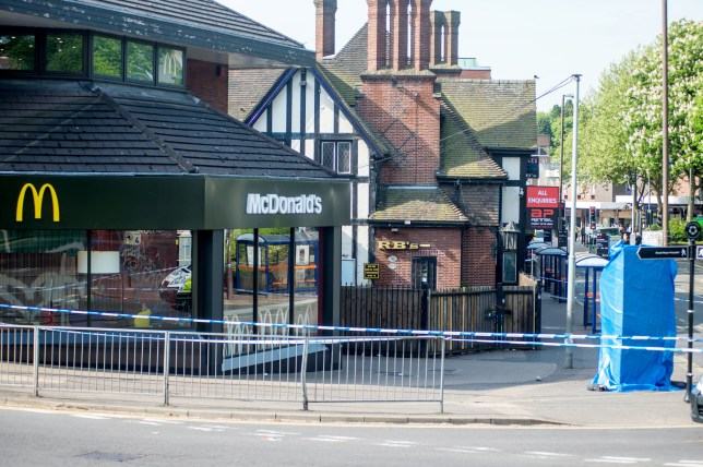 Police at the scene after a 16 year old boy was stabbed to death, Lower Parade in Sutton Coldfield, Birmingham. May 18, 2018. A murder investigation is underway after a 16-year-old boy has died following a stabbing in Sutton Coldfield this afternoon (Thursday 17 May). See NTI story NTISTAB. Officers were called after the teenager was discovered injured following a disorder in Lower Parade at around 3.30pm. Despite the best efforts of emergency services the boy was confirmed dead at the scene. The area has been sealed off for investigations to be carried out. Several people were seen fleeing the area after the disorder and officers are appealing for anyone who may have seen anything to come forward. Officers are viewing CCTV and conducting enquiries with people in the vicinity. Extra reassurance patrols will be taking place in the town centre.
