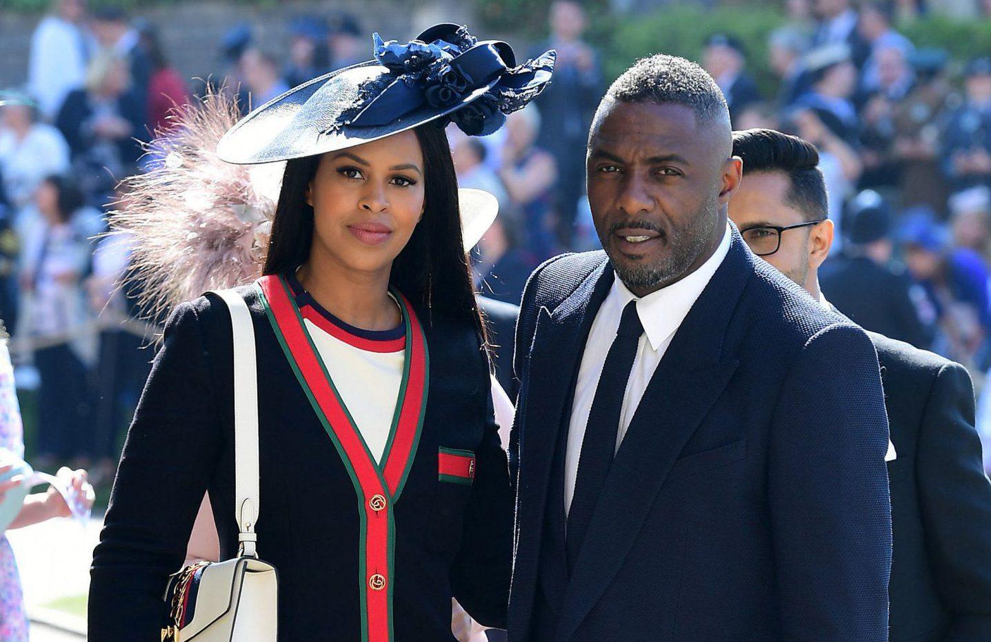 Idris Elba arrives at royal wedding with fiancee Sabrina Dhowre and Oprah Winfrey