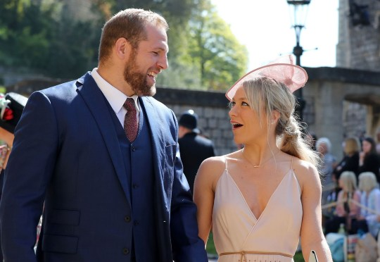 England rugby international James Haskell and Chloe Madeley arrive for the wedding ceremony of Britain's Prince Harry, Duke of Sussex and US actress Meghan Markle at St George's Chapel, Windsor Castle, in Windsor, on May 19, 2018. / AFP PHOTO / POOL / Gareth FullerGARETH FULLER/AFP/Getty Images