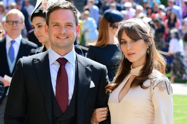 Patrick J. Adams and wife Troian Bellisario arrive at St George's Chapel at Windsor Castle for the wedding of Meghan Markle and Prince Harry. PRESS ASSOCIATION Photo. Picture date: Saturday May 19, 2018. See PA story ROYAL Wedding. Photo credit should read: Ian West/PA Wire