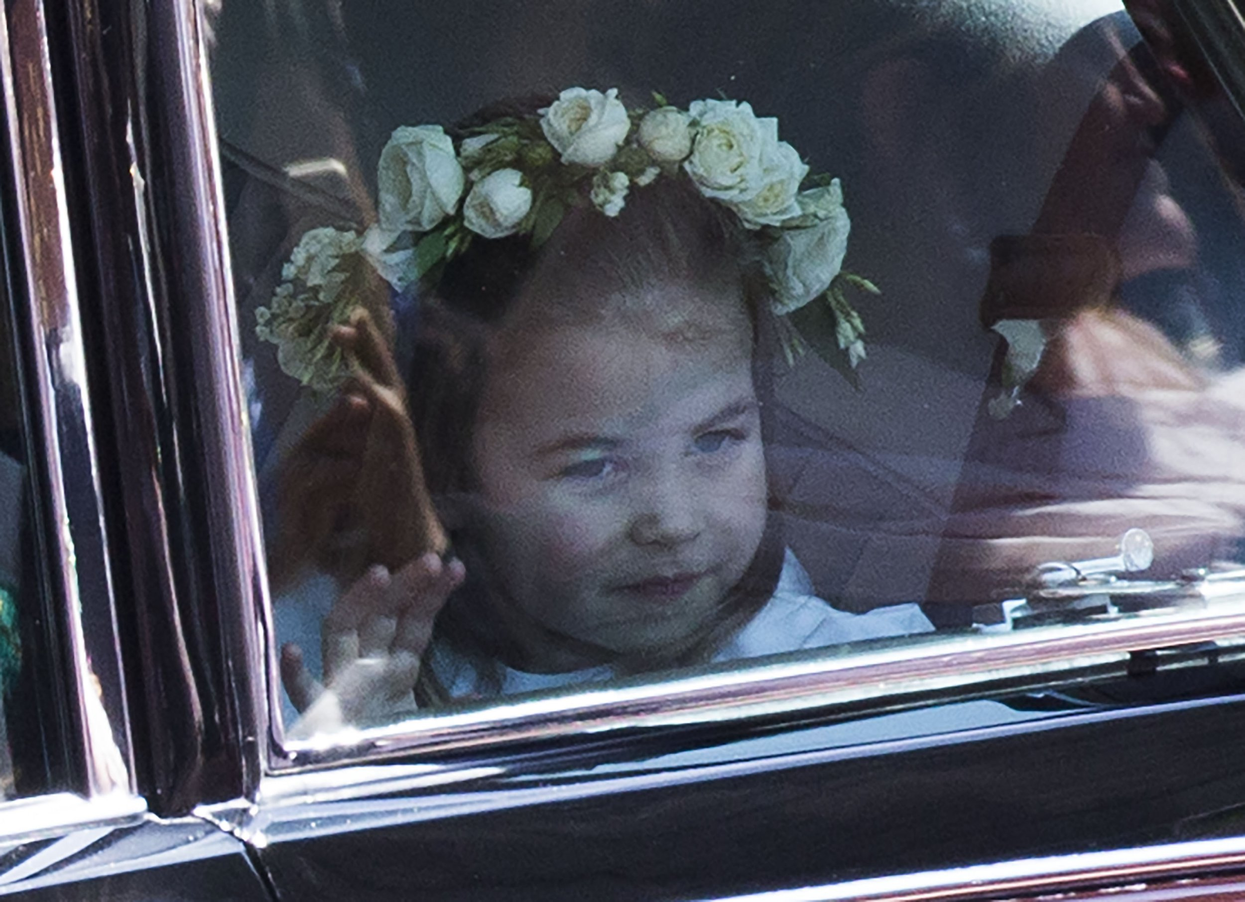 Prince George and Princess Charlotte look adorable as they arrive for royal wedding