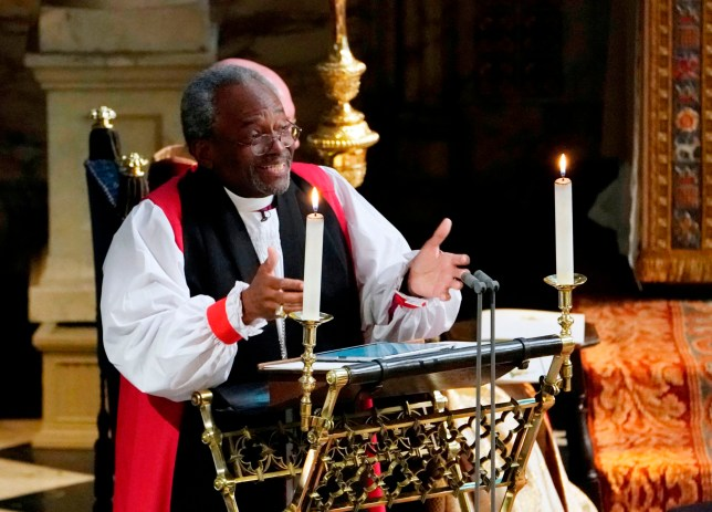 Bishop Michael Bruce Curry gives a reading during the wedding ceremony of Britain's Prince Harry, Duke of Sussex and US actress Meghan Markle in St George's Chapel, Windsor Castle, in Windsor, on May 19, 2018. / AFP PHOTO / POOL / Owen HumphreysOWEN HUMPHREYS/AFP/Getty Images