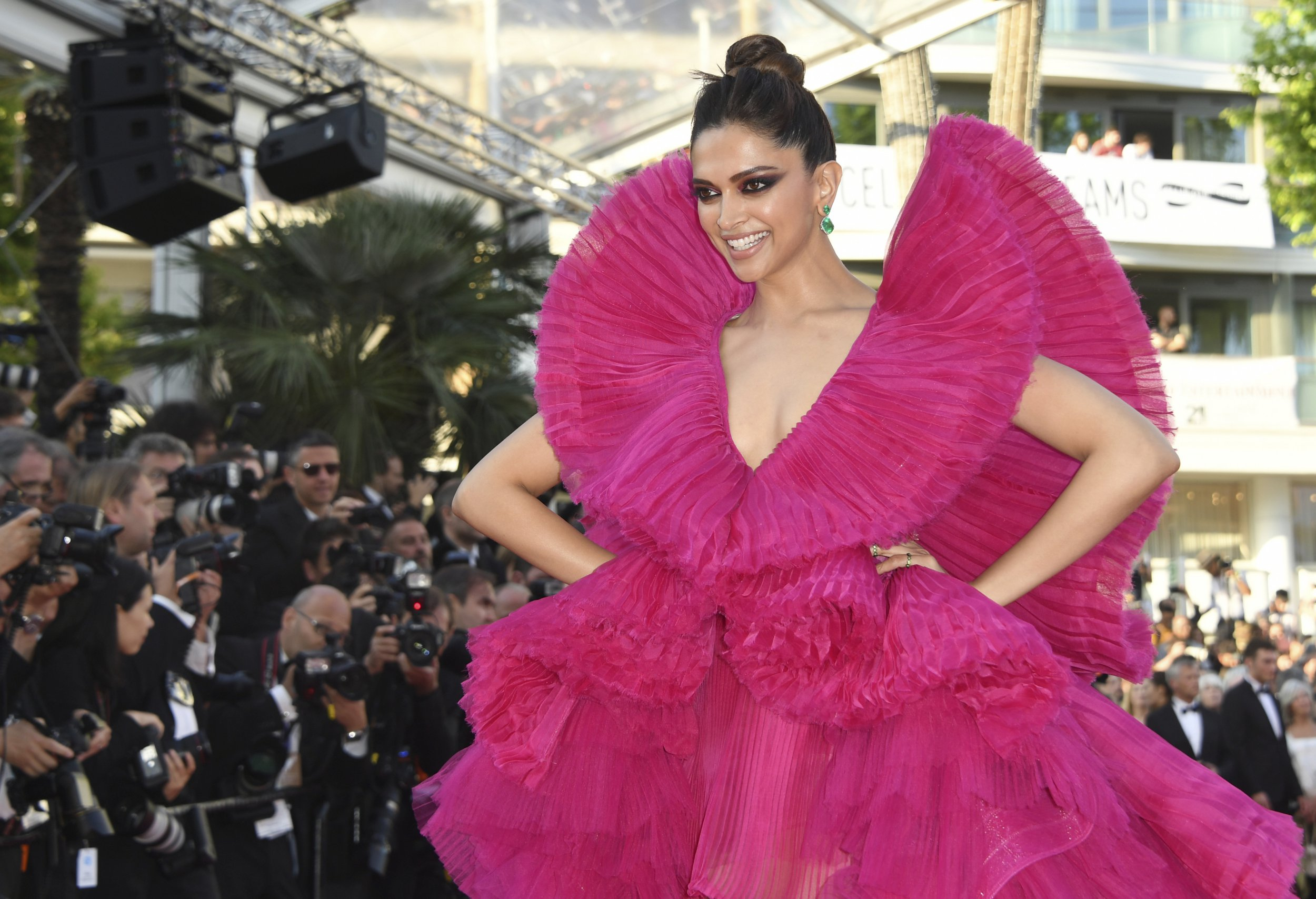 """Actress Deepika Padukone wears a pink gown by Ashi Studio at the premiere of """"Ash Is The Purest White"""" at the 71st international film festival, Cannes, southern France, Friday, May 11, 2018. (Photo by Arthur Mola/Invision/AP)"""