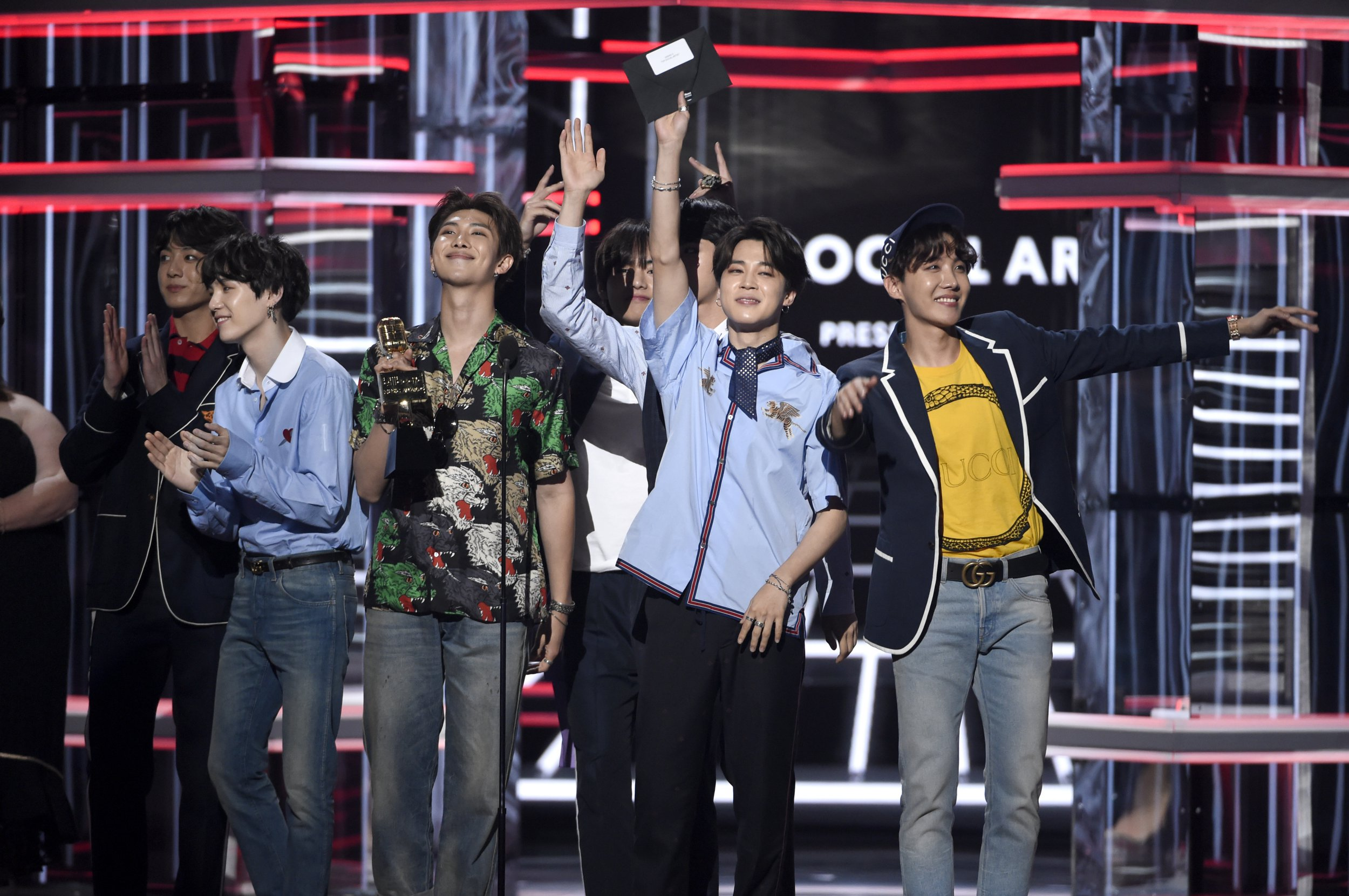 BTS accepts the award for top social artist at the Billboard Music Awards at the MGM Grand Garden Arena on Sunday, May 20, 2018, in Las Vegas. (Photo by Chris Pizzello/Invision/AP)