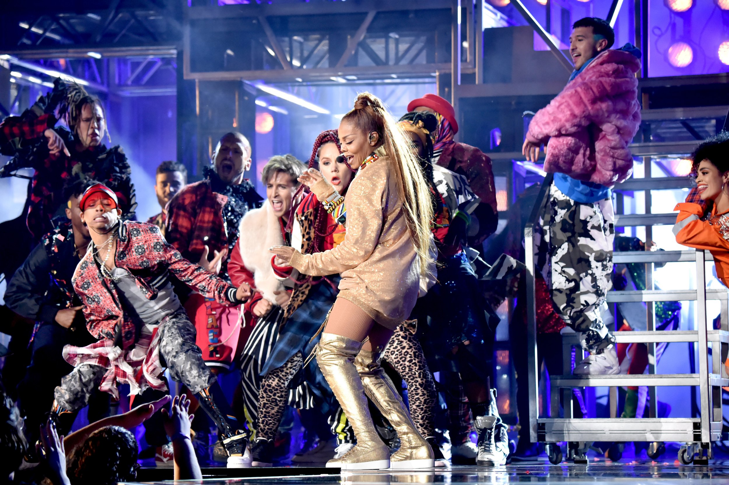 LAS VEGAS, NV - MAY 20: Recording artist Janet Jackson performs onstage at the 2018 Billboard Music Awards at MGM Grand Garden Arena on May 20, 2018 in Las Vegas, Nevada. (Photo by Kevin Mazur/WireImage)