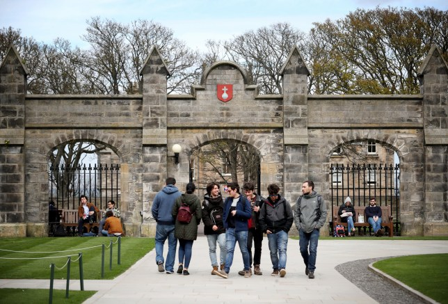 Students outside of the entrance to the Lower and Upper College Halls at the University of St Andrews. The University of St Andrews is top in Scotland and one of the five leading universities in the UK according to the new Complete University Guide's league table.