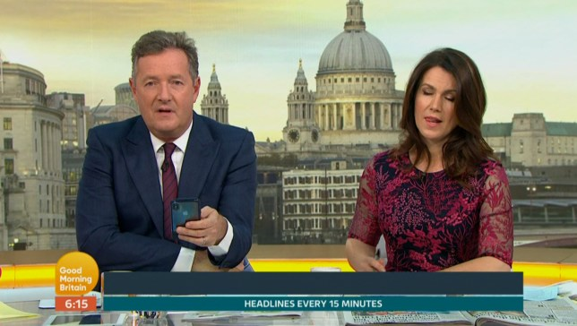 ****Ruckas Videograbs**** (01322) 861777 *IMPORTANT* Please credit ITV for this picture. 22/05/18 Good Morning Britain - ITV1 Grabs from this morning's show which saw presenter Piers Morgan rudely interrupt Charlotte hawkins during her news report about the anniversary of the Manchester Arena bombing to boast about an Instagram snap. Hawkins and Susanna Reid both gave knowing glances as Morgan didn't appear to be listening to Hawkins as she delieverd her report to viewers by suddenly boasting about how Shirley Ballas had shared an Instagram photo of the pair of them at the Chelsea Flower Show. Office (UK) : 01322 861777 Mobile (UK) : 07742 164 106 **IMPORTANT - PLEASE READ** The video grabs supplied by Ruckas Pictures always remain the copyright of the programme makers, we provide a service to purely capture and supply the images to the client, securing the copyright of the images will always remain the responsibility of the publisher at all times. Standard terms, conditions & minimum fees apply to our videograbs unless varied by agreement prior to publication.