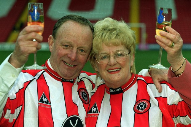 FILE PHOTO of Sheffield United fans Ray and Barbara Wragg celebrate winning the 7,649,520 jackpot from Saturday's National Lottery at Sheffield United's Bramall Lane football ground, Sheffield, Tuesday, 25th January, 2000. See Ross Parry story RPYLOTTERY; Tributes paid to Britain's most charitable lottery winner who gave away ?6m of her ?7.6m fortune after she dies aged 76.
