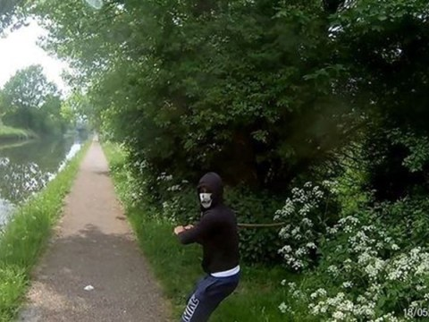 Cyclist films moment man armed with weapon jumps out in front of him on towpath