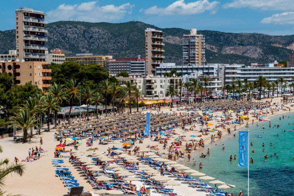 MALLORCA, SPAIN - JULY 13: Tourists sunbathe at Magaluf beach on July 13, 2014 in Mallorca, Spain. Magaluf is one of the Britain's favorite holiday destinations popular with sun, beach and clubbers alike. (Photo by David Ramos/Getty Images)