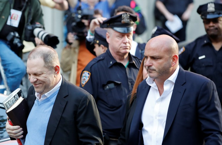 Film producer Harvey Weinstein arrives at the 1st Precinct in Manhattan in New York, U.S., May 25, 2018. REUTERS/Mike Segar
