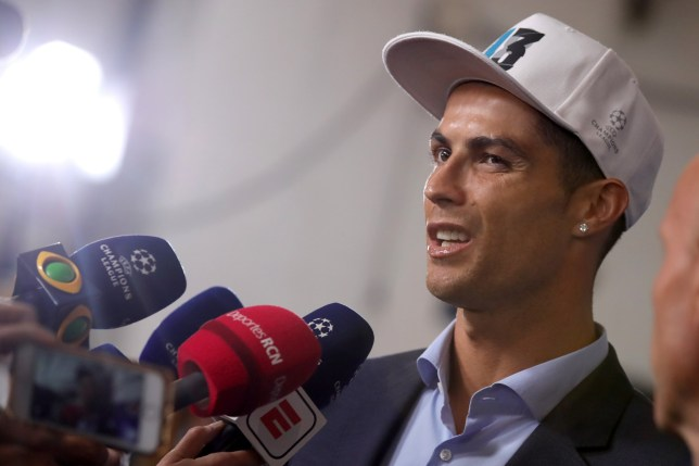 KIEV, UKRAINE - MAY 26: Cristiano Ronaldo of Real Madrid talks to the media at the Mixed Zone after winning the UEFA Champions League Final between Real Madrid and Liverpool at NSC Olimpiyskiy Stadium on May 26, 2018 in Kiev, Ukraine. (Photo by Alexander Hassenstein - UEFA/UEFA via Getty Images)