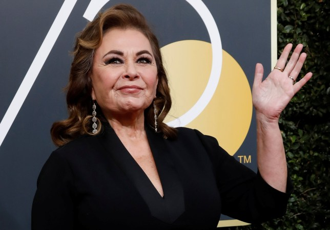 FILE PHOTO: Actress Roseanne Barr waves on her arrival to the 75th Golden Globe Awards in Beverly Hills, California, U.S., January 7, 2018. Picture taken January 7, 2018. REUTERS/Mario Anzuoni/File Photo