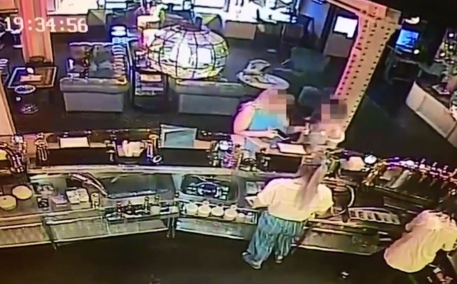 Staff claim a 'dirty protest' was held in Tiger Hornsby after a woman was refused drinks. Still from video of pair of suspects Credit: NCJ Media