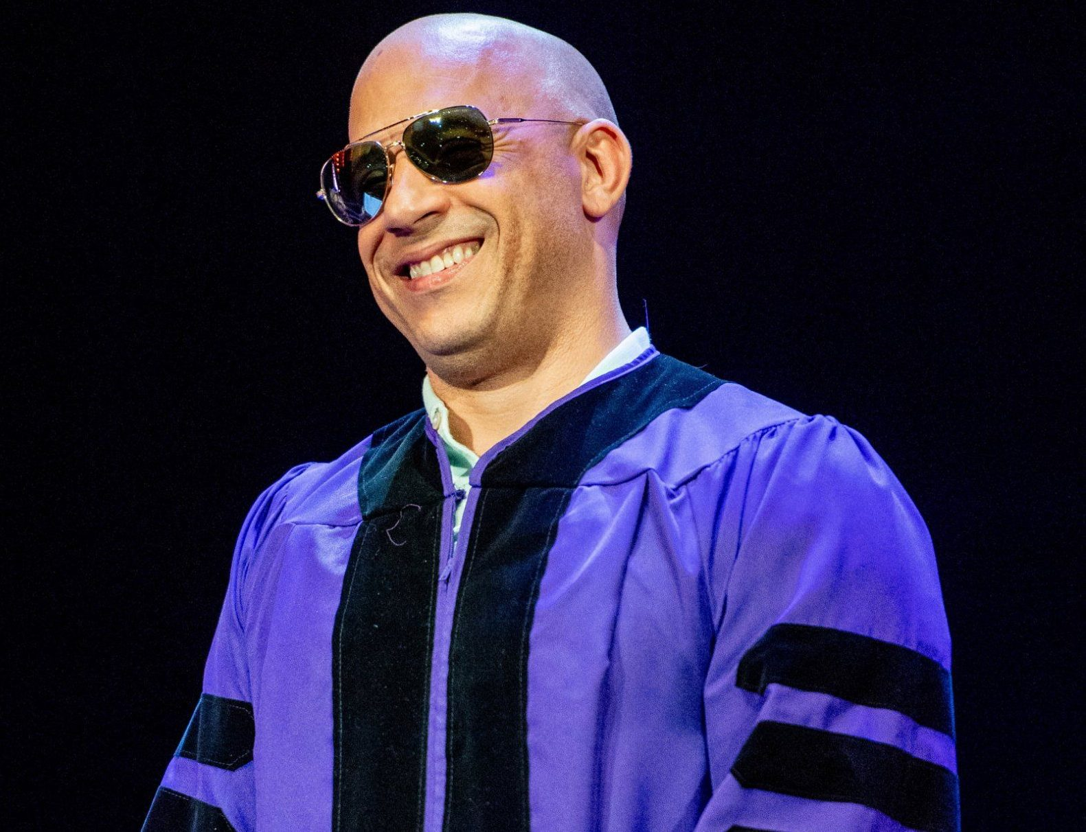 NEW YORK, NY - MAY 30: Actor Vin Diesel receives his Honorary Doctor of Humane Letters during the Hunter College 2018 Commencement ceremony at Radio City Music Hall on May 30, 2018 in New York City. (Photo by Roy Rochlin/Getty Images)