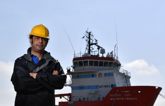 Captain Nikesh Rastogi, 43, from Mumbai, who has been stranded aboard the Indian supply vessel Malaviya Twenty in port at Great Yarmouth for 15 months amid a legal dispute. PRESS ASSOCIATION Photo. Picture date: Tuesday May 22, 2018. Captain Rastogi's original crew have returned to India, and he remains aboard with three crew members who have not been paid since last year. See PA story SEA Malaviya. Photo credit should read: Joe Giddens/PA Wire