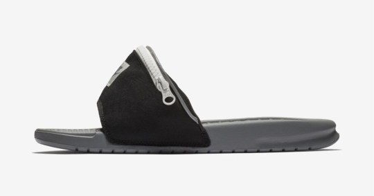 aa1ab1ec4b7e Nike Benassi fanny pack sandals have a very useful zip pocket on ...