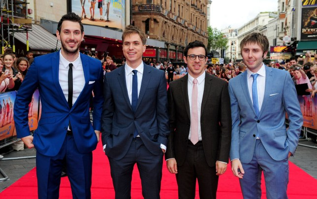 Embargoed to 0001 Tuesday May 01 File photo dated 5/8/2014 of (left to right) Blake Harrison, Joe Thomas, Simon Bird and James Buckley attending the premiere of new film The Inbetweeners 2 at the Vue Cinema in London. Channel 4 has unveiled a list of the most popular episodes of hit comedy The Inbetweeners as the show celebrates its 10th anniversary. PRESS ASSOCIATION Photo. Issue date: Tuesday May 1, 2018. The first ever episode, which debuted on E4 on May 1 2008, has been watched more than any other instalment. See PA story SHOWBIZ Inbetweeners. Photo credit should read: Ian West/PA Wire