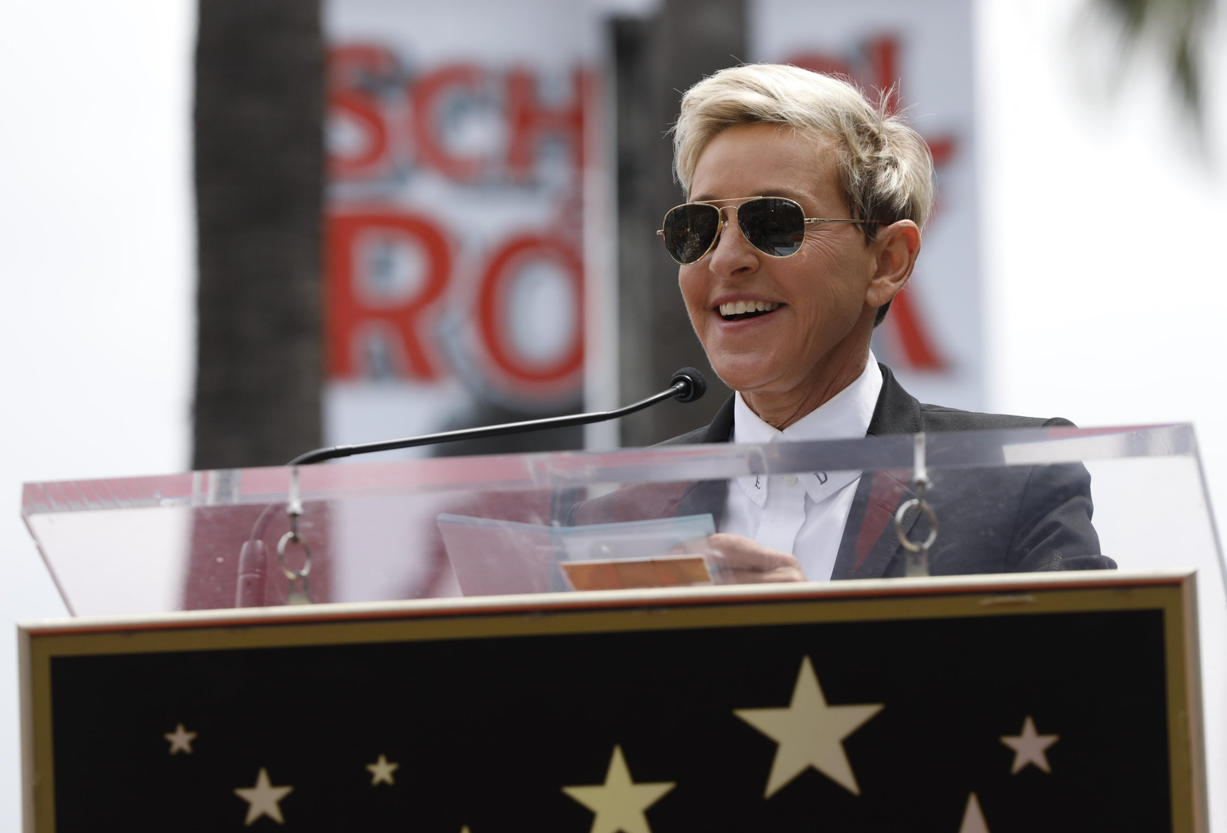 Ellen Degeneres speaks during the ceremony for the unveiling of the star for American boy band *NSYNC on the Hollywood Walk of Fame in Los Angeles, U.S. April 30, 2018. REUTERS/Mario Anzuoni