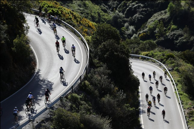 MARBELLA, SPAIN - APRIL 29: A general view of athletes in the cycle leg of IRONMAN 70.3 Marbella on April 29, 2018 in Marbella, Spain. (Photo by Bryn Lennon/Getty Images for Ironman)