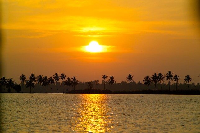 The Keralan sunset over the Alleppey Backwaters