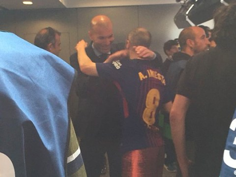 Zinedine Zidane waits in tunnel to hug Andres Iniesta after his final El Clasico