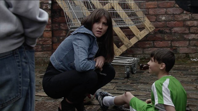 Jack falls over in Coronation Street