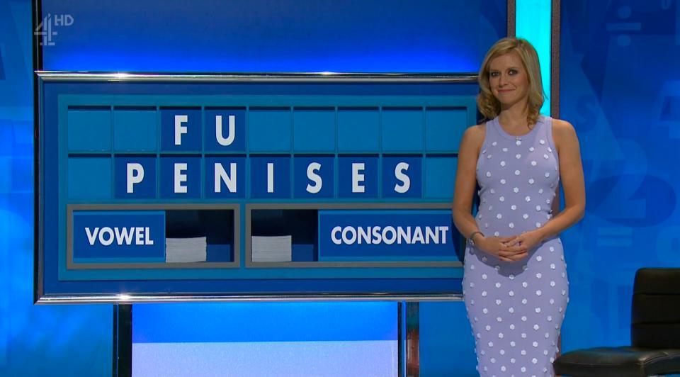 Rachel Riley holds back the giggles as she spells 'penises' on Countdown