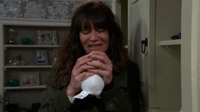 Chas cries in Emmerdale