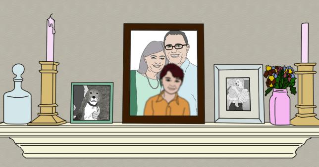 Illustration of frames on a mantle piece.