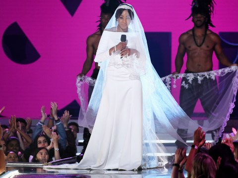 Tiffany Haddish is ready for Leonardo DiCaprio as she 'wears Meghan Markle's wedding dress' to MTV Movie & TV Awards
