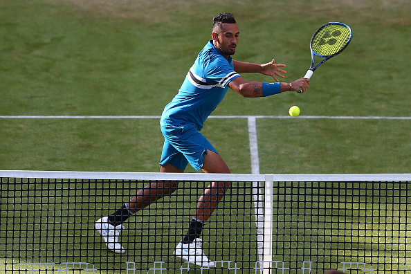 Nick Kyrgios puts on serving masterclass to take Kyle Edmund out of Queen's