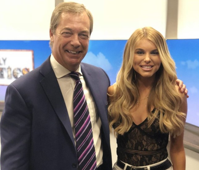 Hayley Hughes learnt about Brexit with Nigel Farage Picture: Twitter)