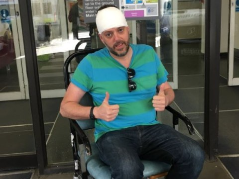Iain Lee presses on with his radio show with a bandaged head after 'owl attack'