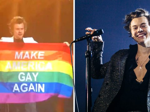 Harry Styles sends message as he flies 'Make America Gay Again' flag at gig