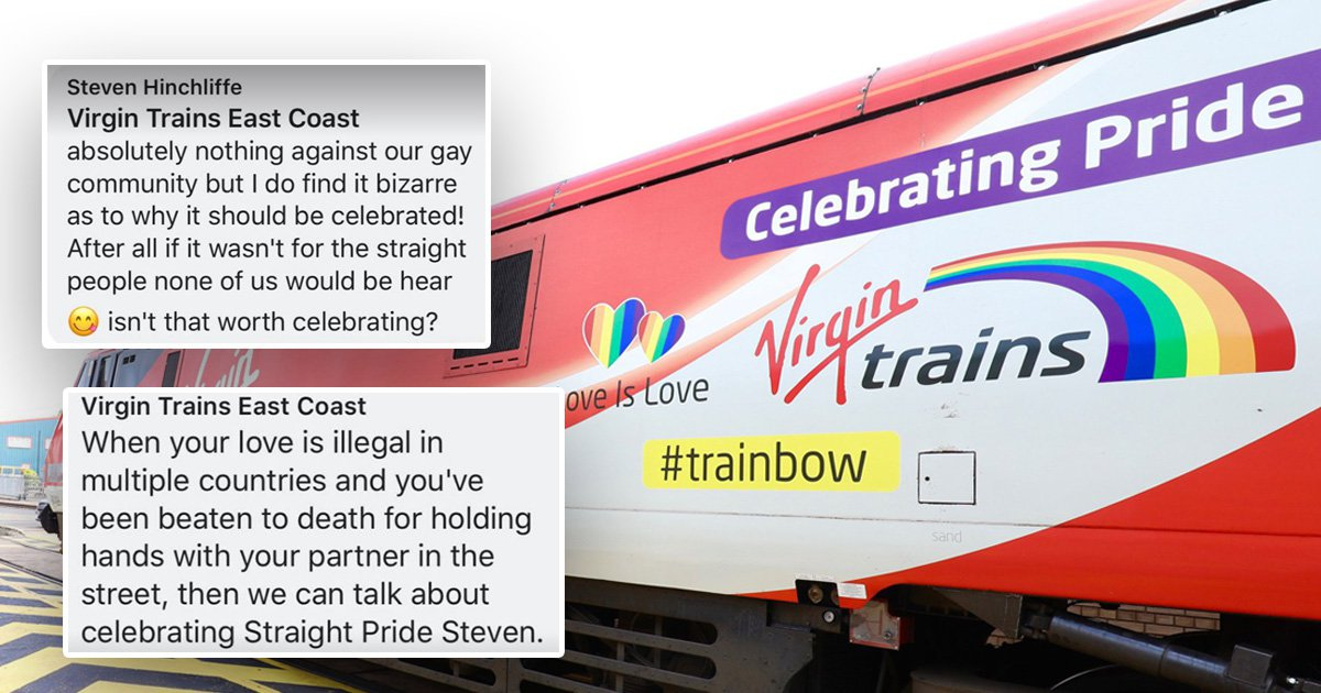 Virgin Trains puts man in place for asking why they celebrate Pride Month