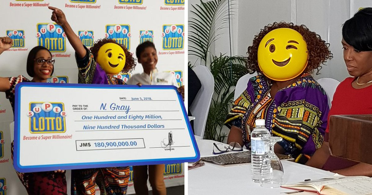 Lottery winner wears winking emoji mask so no one can ever bother her for money