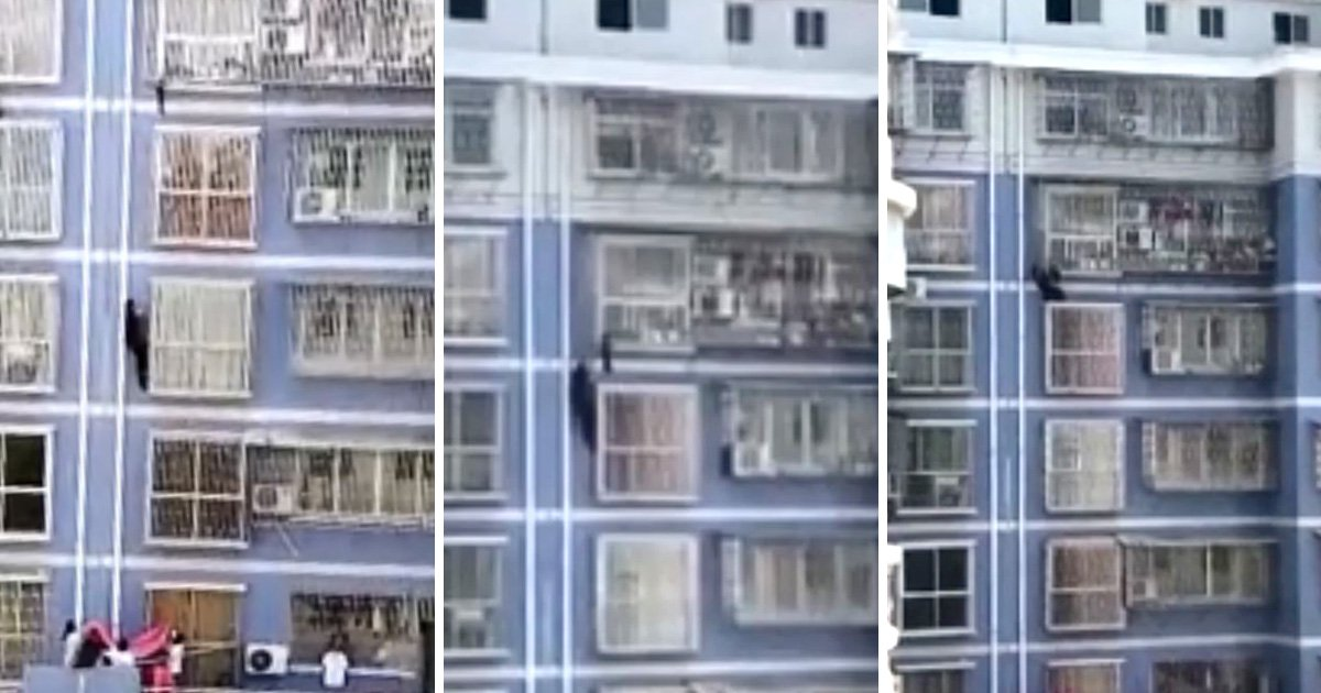 China's Spider-Man climbs building to save toddler trapped on fifth floor