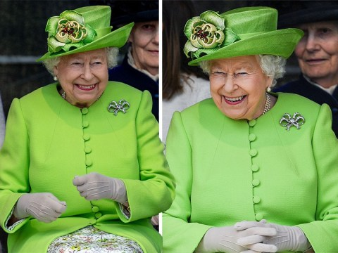 Queen's nod to Grenfell as she wears green for outing with Meghan Markle