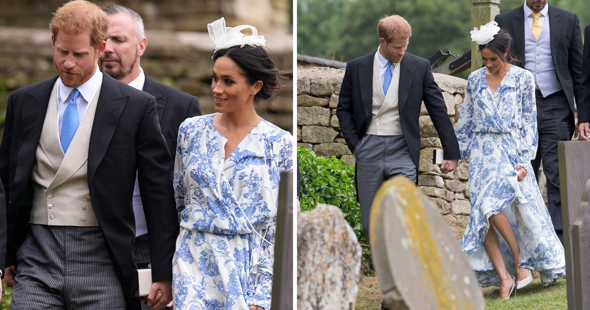 Prince Harry catches Meghan Markle after she stumbles in heels