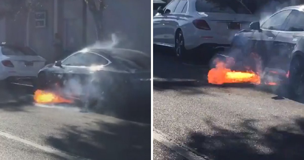 TV director's Tesla burst into flames 'out of the blue' while sitting in traffic