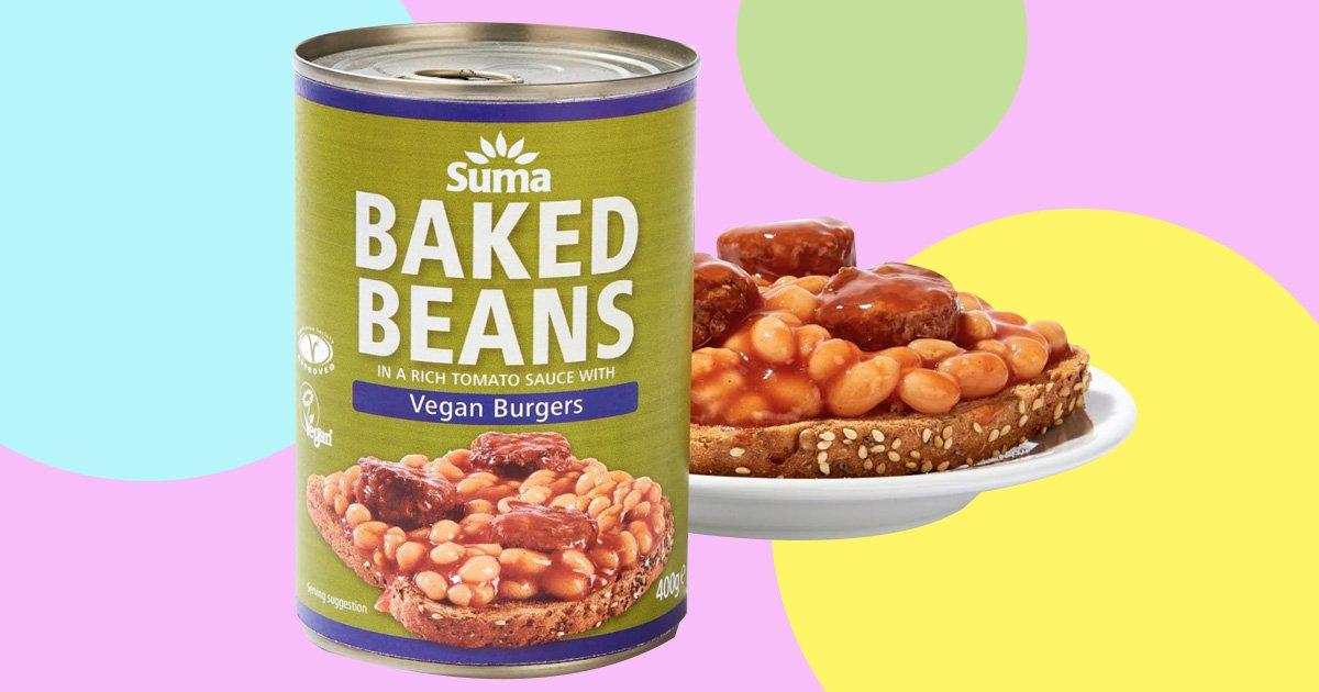 Suma baked beans and vegan burgers