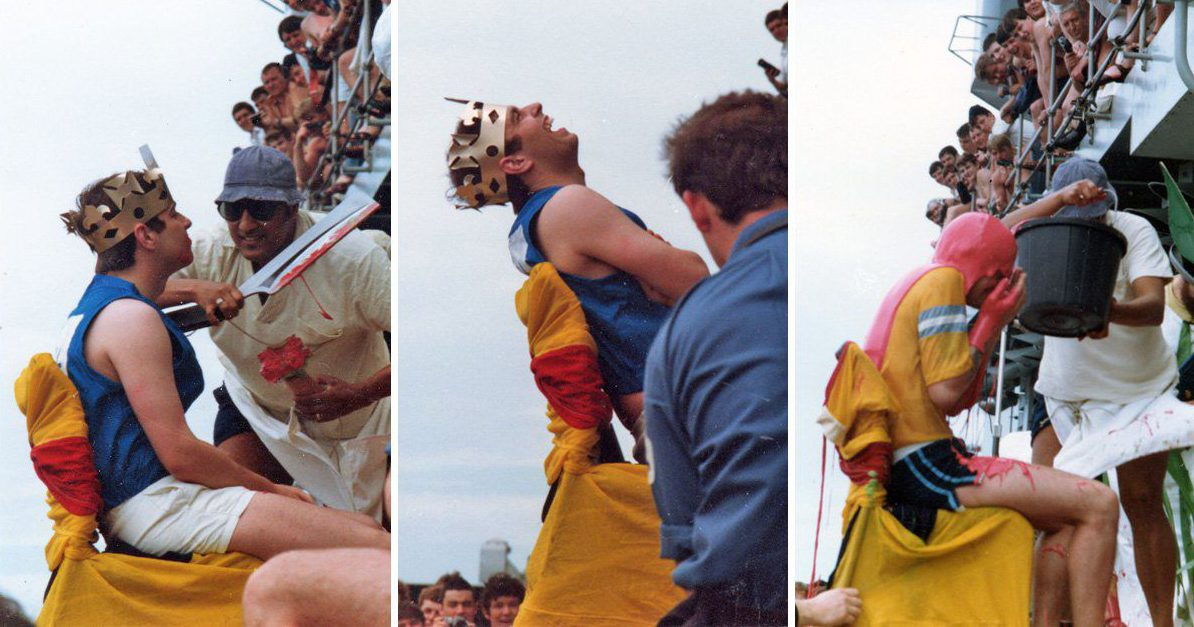 Pictures of Prince Andrew being ritually humiliated in the Royal Navy